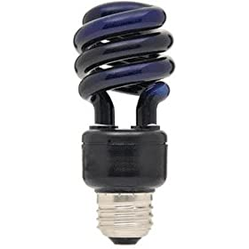 Satco S7277 13-Watt Medium Base T2 Mini Spiral, Black Light, 120V, Equivalent to 60-Watt Incandescent Lamp for Enclosed Fixtures