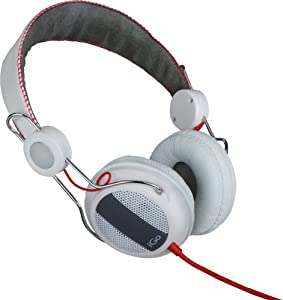 iGo Miami Over The Ear Headphones with In-Line Microphone and Skype Adapter - White/Red