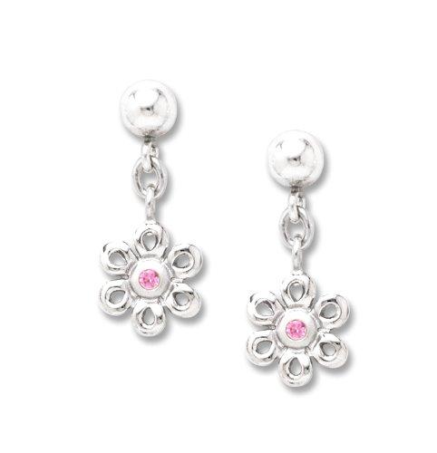 Sterling Silver Pink Sapphire Daisy Drop Earrings