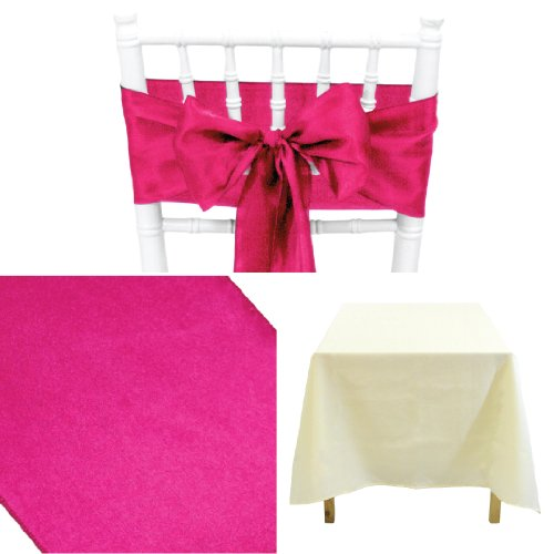 Koyal Wholesale Linens Party Kit, Includes 60 by 102-Inch Ivory Rectangular Poly Table Cloth with Satin Table Runner and 10-Pack Fuchsia Satin Chair Bow Sash