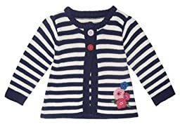 JoJo Maman Bebe Baby Girls\' Stripe Cardigan - Navy/Cream Stripe - 6-12 Months