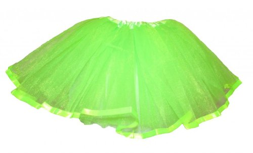 Hairbows Unlimited Girls' Ribbon Lined Dance Tutu One Size Lime Green front-461001