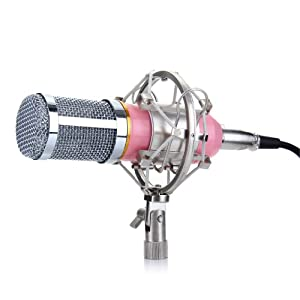 Excelvan® BM-800 Condenser Microphone Sound Recording Dynamic + Mic Shock Mount, Ideal for radio broadcasting studio, voice-over sound studio, recording and so on from Excelvan