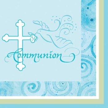 Faithful Dove Blue Communion Luncheon Napkins - 1