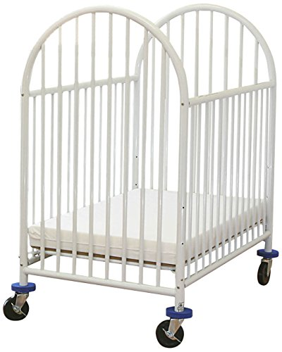 LA Baby Arched Metal Compact Crib White - 1