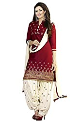 RockChin Fashions Red Cotton Embroidered Unstitched Dress Material