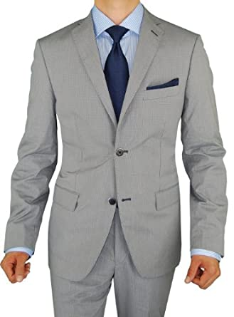 Bianco Brioni Men's Gray Blue Check Two Button Trim Fit Cotton Stretch Suit (44 Short US / 54 Short Euro, Gray Blue Check Pattern)