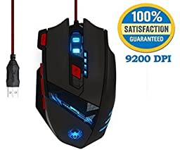 Gaming Mouse High 9200 Dpi KingTop Wired Ergonomic Led Gaming Mouse with Side Buttons for Laptop Pc 6 LED Colors Changing