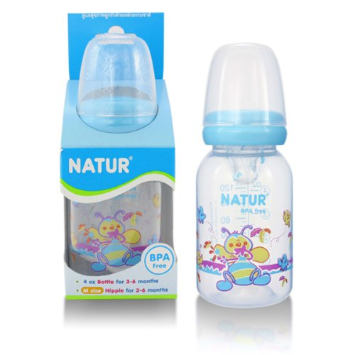 NATUR Blue Baby Feeding Bottle with size M nipple BPA Free 4 oz / 120 ml