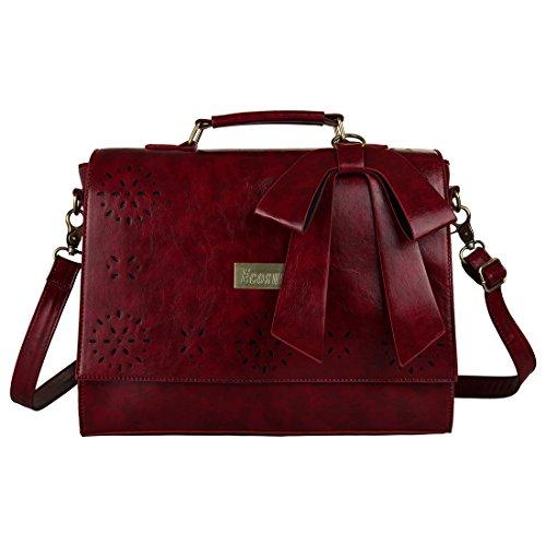 Ecosusi Women Large Vintage Leather Saddle Messenger Bag Lady Top Handle Briefcase Handbag Satchel (Red)
