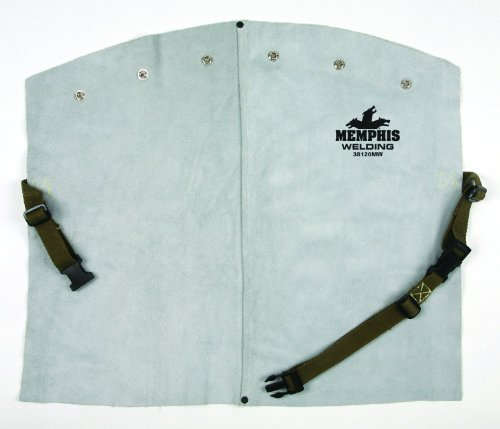 Mcr Safety 38120Mw 20-Inch Memphis Split Cow Leather Welding Bib With Snaps To Fit Cape Sleeve, Gray front-194436