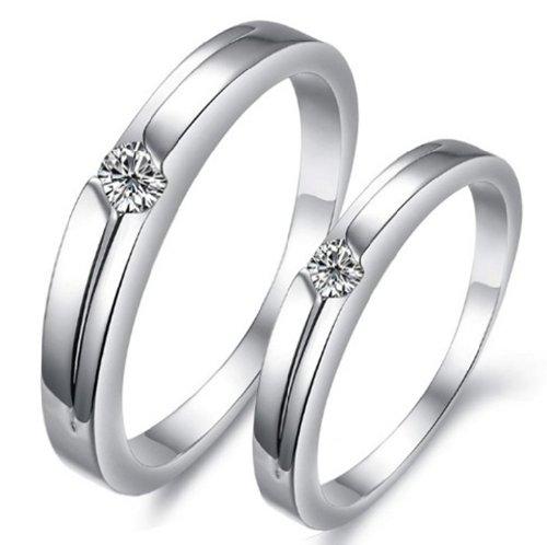 OPK Rhinestone Platinum Plated Wedding Band Anniversary/Engagement/Promise/Couple Ring Best Gift!