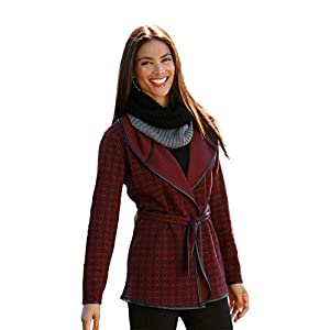 Sahalie Women's Reversible Jacquard Wrap Jacket - L Bordeaux