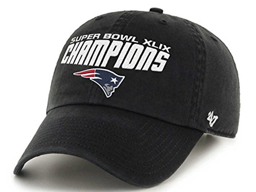 New England Patriots 47 Brand Black Super Bowl XLIX Champions Clean Up Hat Cap (Super Bowl Merchandise Patriots compare prices)