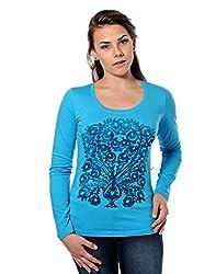 Mavango Round Neck Solid Blue Women's Tshirt