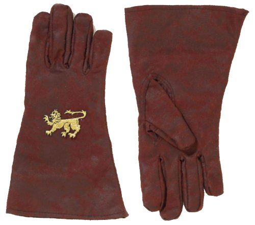 Medieval Lion Crest Brown Gloves