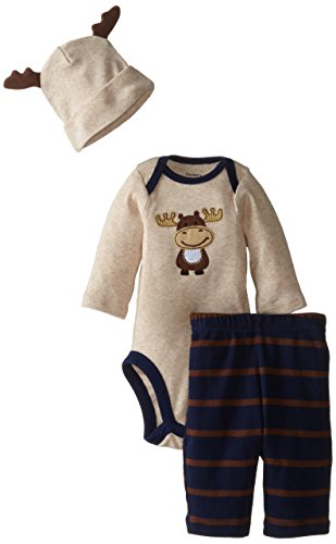 Gerber Baby-Boys Newborn 3 Piece Bodysuit Cap and Pant Set, Navy/Brown Moose, 0-3 Months