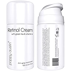 Poppy Austin Best Retinol Cream for Day and Night. An Exquisite, Anti Aging Face Moisturizer. Vitamin E, Green Tea, Shea Butter and 2.5% Retinol. Voted 2015 Best Wrinkle Cream. Huge 100ml Bottle from Poppy Austin