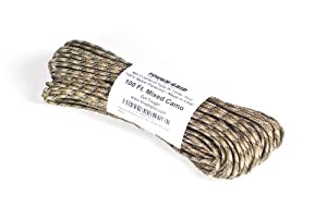 Paracord / Parachute Cord - 750lb Mil-C-5040-H Type IV - 100Ft. Color = Mixed Camo. This is the actual parachute cord used by the US Military. It is the Best Paracord available to the public and made by a US Government Certified Manufacturer. This Paracord is rated to 750 pounds (beating the average