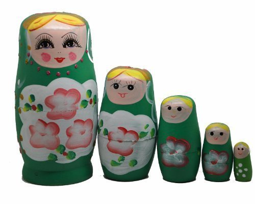Green Set of 5 Cutie Nesting Dolls Matryoshka Madness Russian Doll
