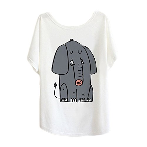 Junior Back to School Elephant Cute Graphic Cotton Batwing Sleeve T-shirt Tee Top