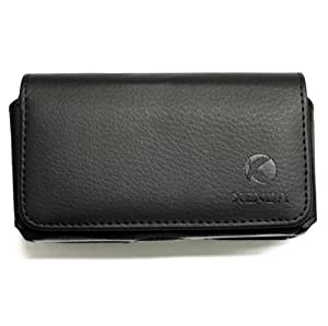 Premium Black Horizontal Soft Leather Side Pouch Cover Carrying Phone Case Holster Sleeve with Swivel Belt Clip and Loops for Telus Apple IPhone 4 - Apple Iphone 4S - LG Optimus One