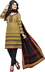 Balaji Womens Cotton Unstitched Dress Material(5120+Brown+Free Size)