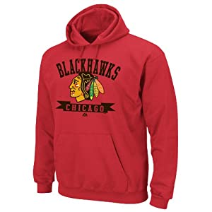 NHL Chicago Blackhawks Men's Tape To Tape Hooded Sweatshirt, Red, Large
