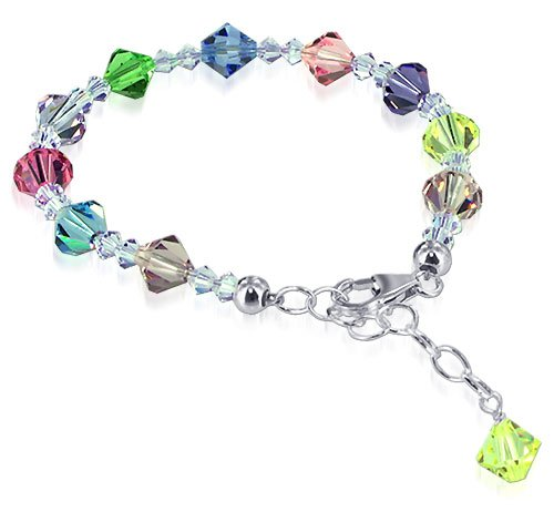 SCBR116 Sterling Silver Multicolor Crystal adjustable Bracelet 7 to 8 inch Made with Swarovski Elements