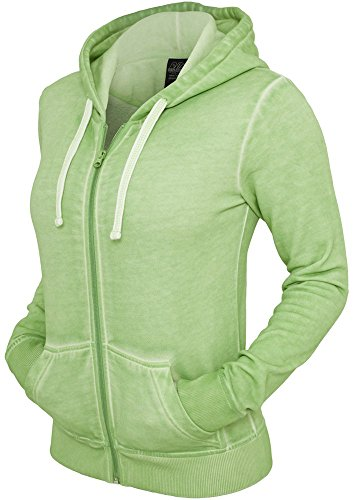 Urban Classics - Ladies Spray Dye Zip Hoody, Pantalone da donna,  manica lunga, verde(mint), S