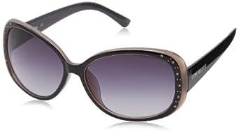 Steve Madden Women's S5472 Oval Sunglasses,Black,60 mm