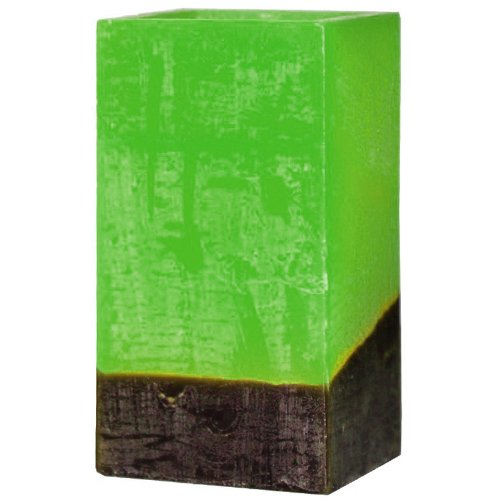 Dfl 3X6 Inch Tricolour Flameless Real Wax Cuboid Led Candle With Timer-Green