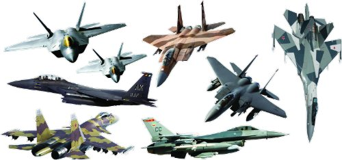 Fighter Jets Giant (8 Pcs) Stickers - Removable And Repositionable Wall Decals Wall Art For Any Kids Room. front-1002144