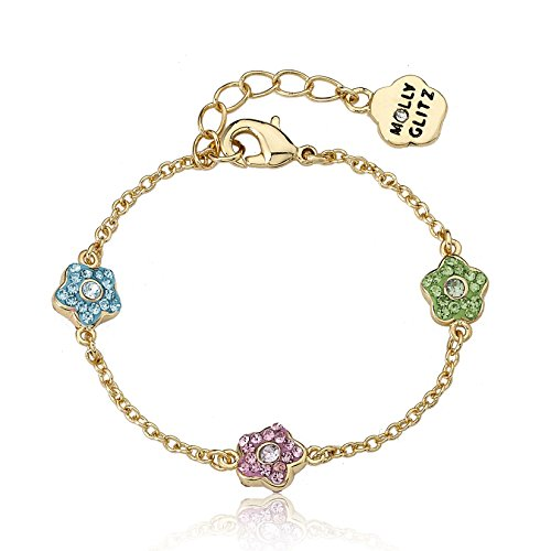 "Molly Glitz Flowery Glitz 14k Gold-Plated Aqua, Pink & Lime Crystal Flowers Chain Bracelet 5.5""/Ext."