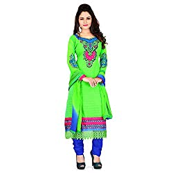 Vardhman Synthetics Women's Embroidered Unstitched Anarkali Dress Material (Green_Free Size)