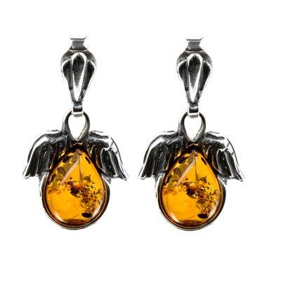 Sterling Silver Baltic Cognac Color Amber Angel Wings Earrings