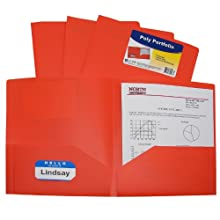 C-Line Two-Pocket Heavyweight Poly Portfolio, For Letter Size Papers, Includes Business Card Slot, 1 Case of 25 Portfolios, Orange (33952)