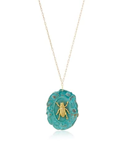 We Dream in Colour Vignette Beetle Necklace, Green/Gold