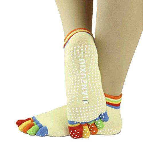Toe Socks, Longra 5-Toe calze colorate Yoga palestra Massaggi delle donne (Giallo)