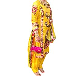 Reet Glamour Women 's Cotton Unstitched Yellow Embroidered Punjabi Suit