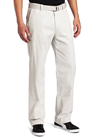 Haggar Men's Belted Garrison Plain Front Cargo Pant,Silver,36x29