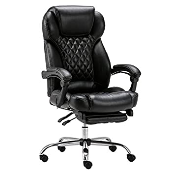 LYON High-Back Black Quilted Faux Leather Reclining Office Chair with Footrest