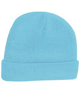 New Light Blue Acrylic Knit Winter Beanie Toque Hat