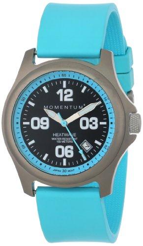 Momentum 1M-SP17A1A - Reloj analógico para mujer de caucho Resistente al agua negro