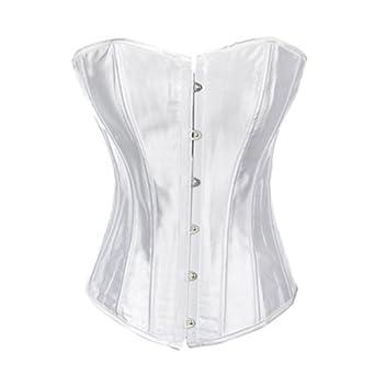 Muka Ladies White Satin Overbust Fashion Corset, Valentine's Gift Idea L