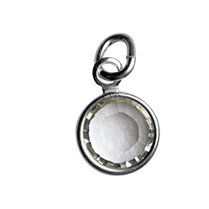 Sterling Silver April Birthstone Charm - Hangs on Loving Family Mother