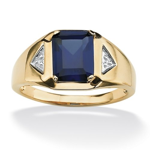 Palm Beach Jewelry - 18k Gold over Sterling Silver Men's Blue Sapphire & Diamond Accent Ring