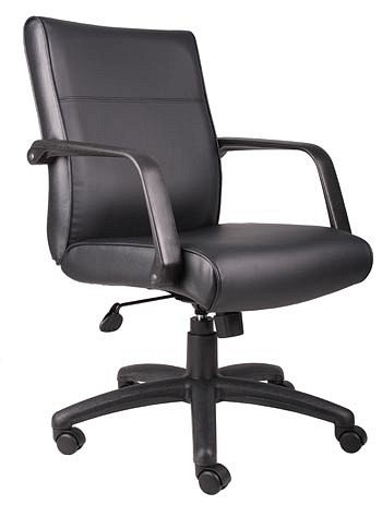 Adjustable Black Leather Executive Office Chair