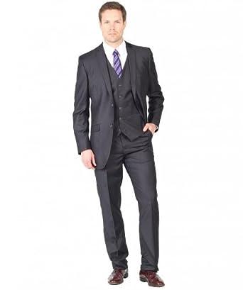 Tazio Men's Two Button Three Piece EuroSlim Suit 40L Charcoal