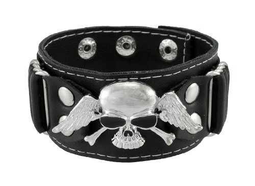 Winged Skull Black Leather Wristband Biker Punk